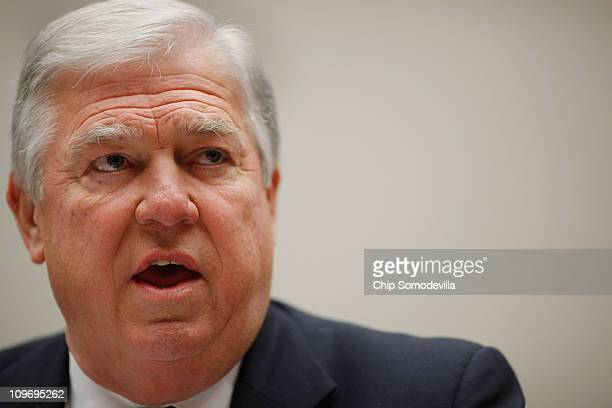 Mississippi Governor Haley Barbour testifies before the House Energy Committee about the impact of the health care reform act on states during a...