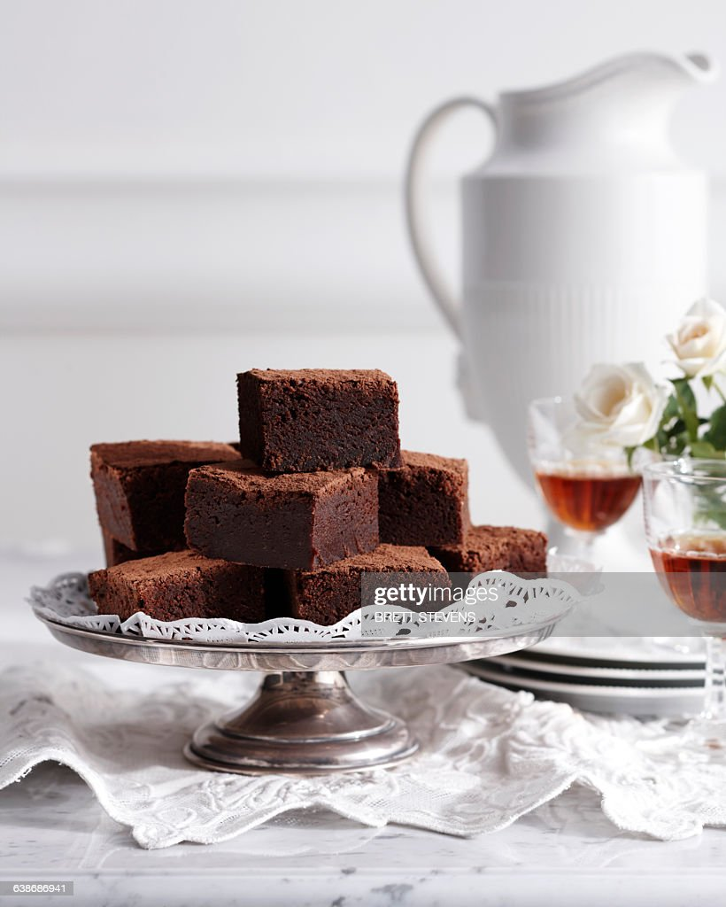 Mississippi mud cake on traditional tea table : Stock Photo