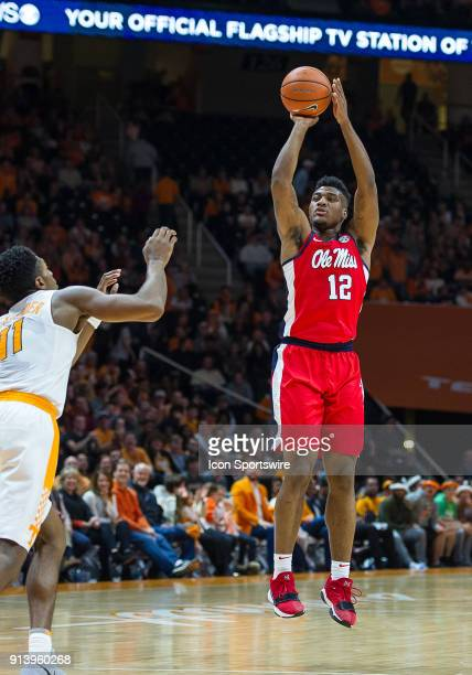 Mississippi Rebels forward Bruce Stevens takes a shot during a game between the Mississippi Rebels and Tennessee Volunteers on February 3 at...