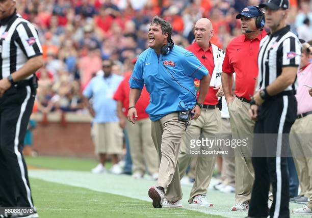 Mississippi Rebels head coach Matt Luke yells to his players from the sidelines during a football game between the Auburn Tigers and the Ole Miss...