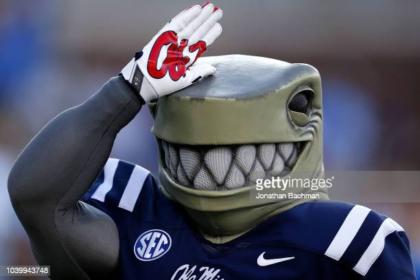 Mississippi Rebels mascot performs during a game against the Alabama Crimson Tide at VaughtHemingway Stadium on September 15 2018 in Oxford...