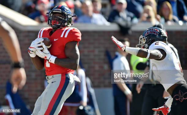 Mississippi Rebels receiver AJ Brown makes a catch in the end zone for a second quarter touchdown of a college football game against the Louisiana...