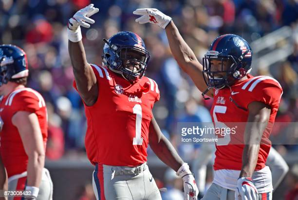 Mississippi Rebels receivers AJ Brown celebrates with DaMarkus Lodge after his first quarter touchdown during a college football game against the...
