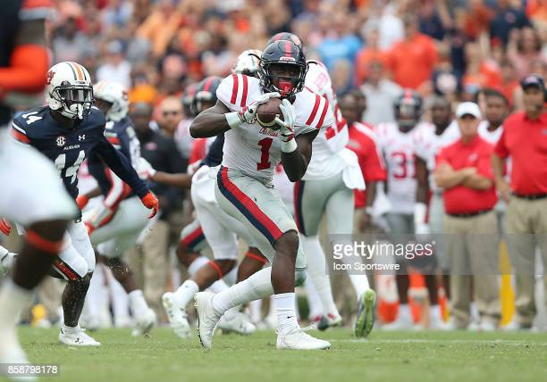 Mississippi Rebels wide receiver AJ Brown catches a pass during a football game between the Auburn Tigers and the Ole Miss Rebels Saturday October 7...