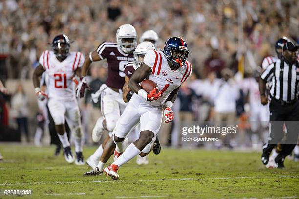 Mississippi Rebels wide receiver AJ Brown runs after a catch during the Ole Miss Rebels vs Texas AM Aggies game on November 12 at Kyle Field in...