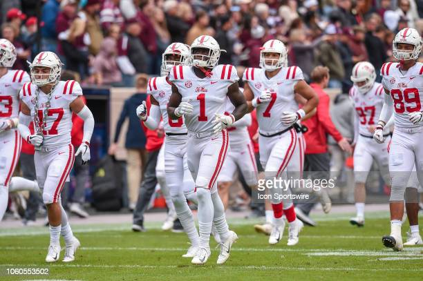 Mississippi Rebels wide receiver AJ Brown runs onto the field before a game between the Ole Miss Rebels and the Texas AM Aggies on November 10 2018...