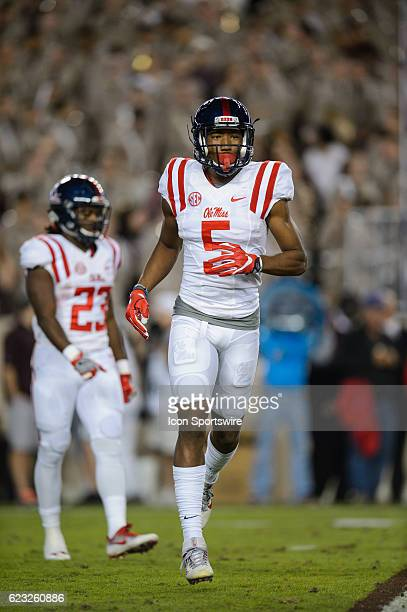 Mississippi Rebels wide receiver DaMarkus Lodge runs off the field during the Ole Miss Rebels vs Texas AM Aggies game on November 12 at Kyle Field in...