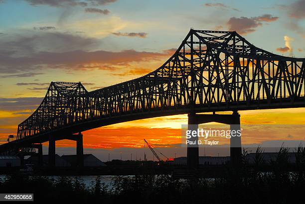 Mississippi River Bridge at Sunset