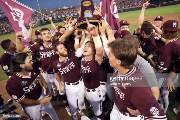 Mississippi St. Celebrates after beating Vanderbilt 9-0 during game three of the College World Series Championship at TD Ameritrade Park Omaha on...