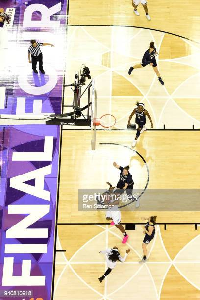 Mississippi State and Notre Dame players battle for a rebound during the championship game of the 2018 NCAA Division I Women's Basketball Final Four...