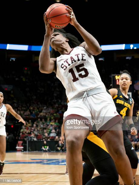 Mississippi State Bulldogs center Teaira McCowan goes up for a basket during the NCAA Division I Women's Championship third round basketball game...