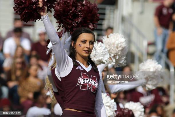 Mississippi State Bulldogs cheerleader during the game between the Arkansas Razorbacks and the Mississippi State Bulldogs on November 17, 2018 at...