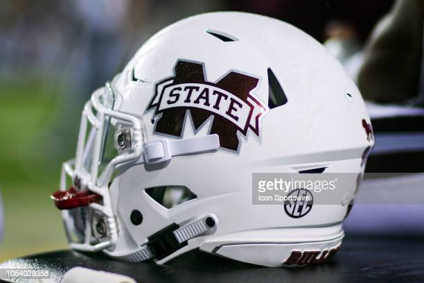 Mississippi State Bulldogs helmet rests on the sideline during a game between the Mississippi State Bulldogs and LSU Tigers on October 20 at Tiger...