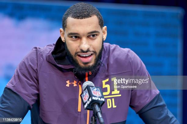 Mississippi State edge rusher Montez Sweat answers questions from the media during the NFL Scouting Combine on March 02 2019 at the Indiana...
