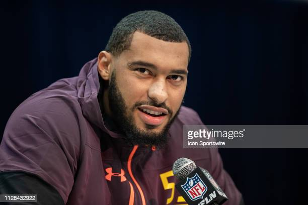 Mississippi State edge rusher Montez Sweat answers questions from the media during the NFL Scouting Combine on March 2 2019 at the Indiana Convention...