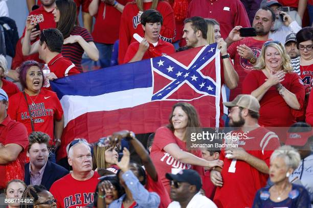 Mississippi State flag is seen during a game between the Mississippi Rebels and the LSU Tigers at VaughtHemingway Stadium on October 21 2017 in...