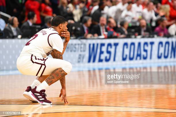 Mississippi State guard Lamar Peters bends down on the court in the final minute of the game between the Mississippi State Bulldogs and the Liberty...