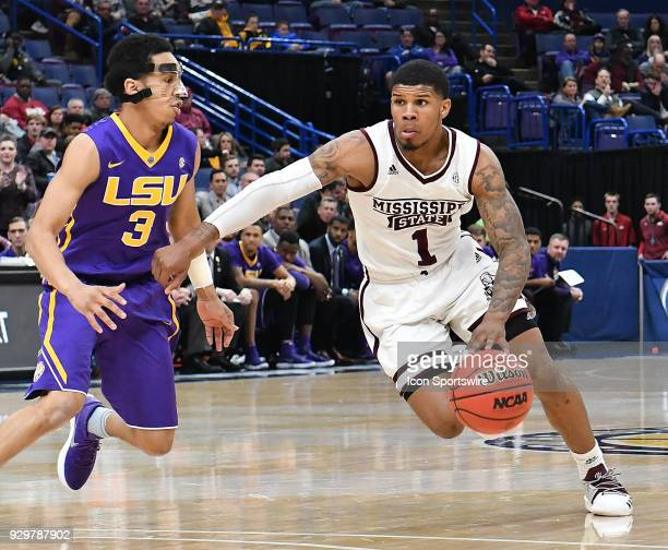 Mississippi State guard Lamar Peters drives around LSU guard Tremont Waters during a Southeastern Conference Basketball Tournament game between LSU...