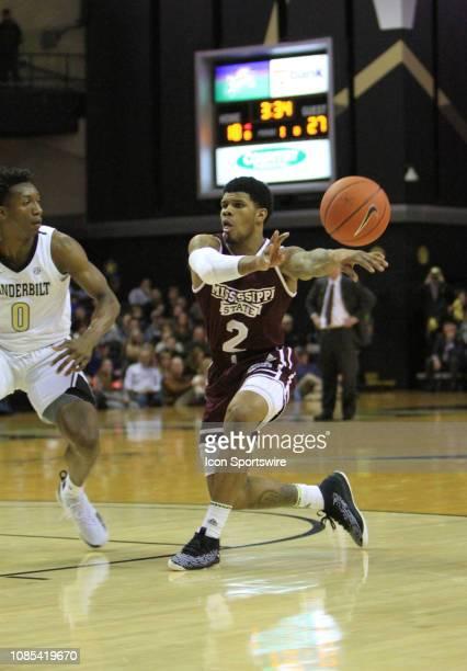 Mississippi State guard Lamar Peters throws a nolook pass in the first half of a game between the Vanderbilt Commodores and No 24 Mississippi State...