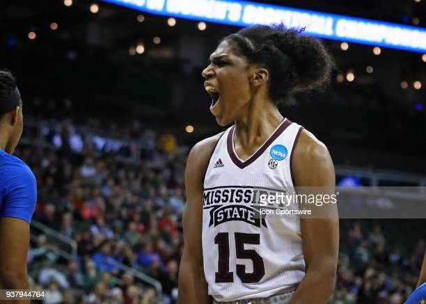 Mississippi State Lady Bulldogs center Teaira McCowan lets out a yell after making a basket and getting fouled with 055 left in the fourth quarter of...