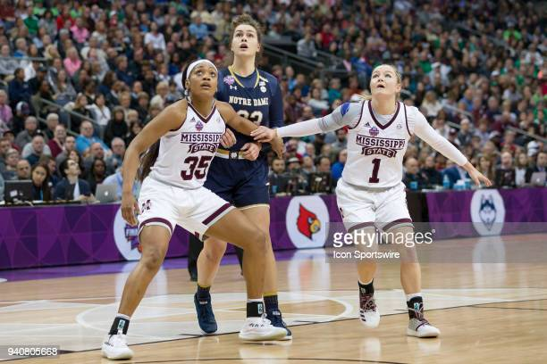 Mississippi State Lady Bulldogs guard Victoria Vivians and Mississippi State Lady Bulldogs guard Blair Schaefer box out Notre Dame Fighting Irish...