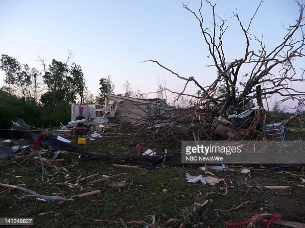 NBC NEWS Mississippi Tornado Pictured The aftermath of a tornado that ripped through Choctaw County Mississippi which killed 10 people Photo by Kerry...