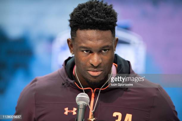 Mississippi wide receiver DK Metcalf answers questions from the media during the NFL Scouting Combine on March 1 2019 at the Indiana Convention...