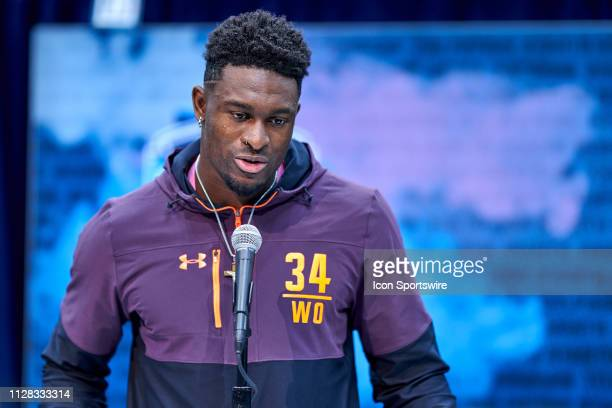 Mississippi wide receiver DK Metcalf answers questions from the media during the NFL Scouting Combine on March 01 2019 at the Indiana Convention...