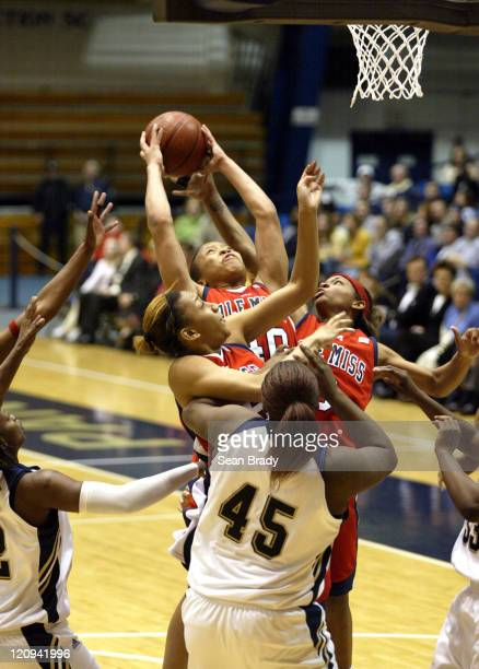 Mississippi's Danetra Forrest rebounds against Pittsburgh during second round action of the WNIT at the Fitzgerald Field House on March 22 2006 in...