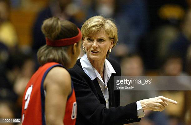 Mississippi's Head Coach Carol Ross talks withAshley Awkward during second round action of the WNIT at the Fitzgerald Field House on March 22 2006 in...