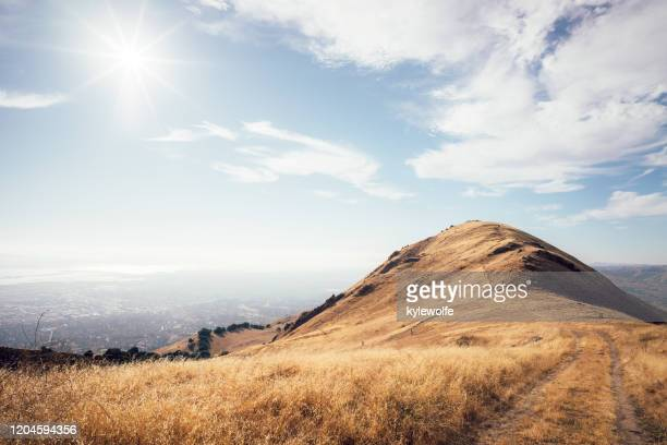 misson peak above the city of fremont, california, usa - fremont california stock pictures, royalty-free photos & images