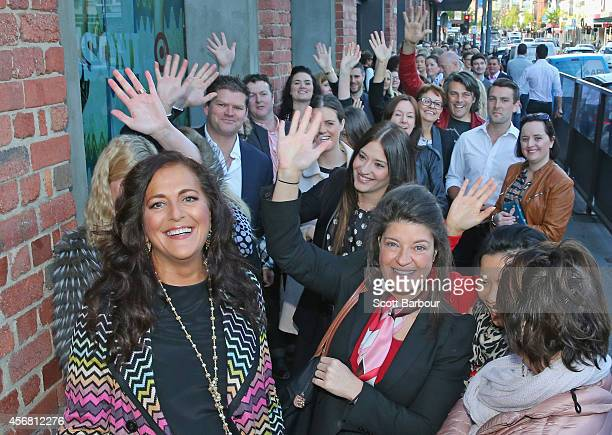 Missoni Creative Director Angela Missoni greets customers waiting in line as she launches the Missoni for Target range on Chapel Street on October 8...