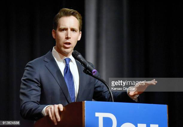 Missouri Attorney General Josh Hawley makes his acceptance speech on November 9 in Springfield Mo