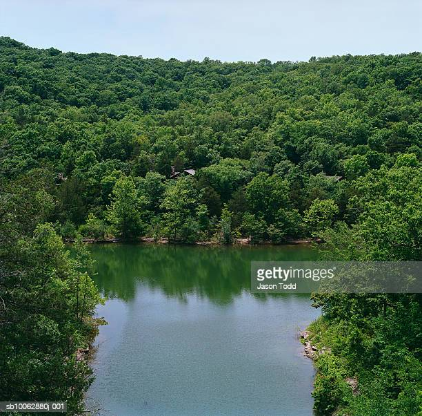 USA, Missouri, Branson, Table Lake surrounded by forest, elevated view