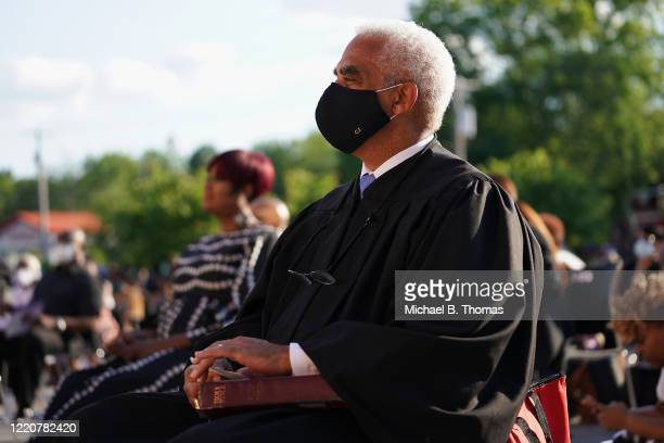 Missouri Chief Justice George William Draper III of the Supreme Court of Missouri looks on during the mayoral inauguration ceremony of Ella Jones at...