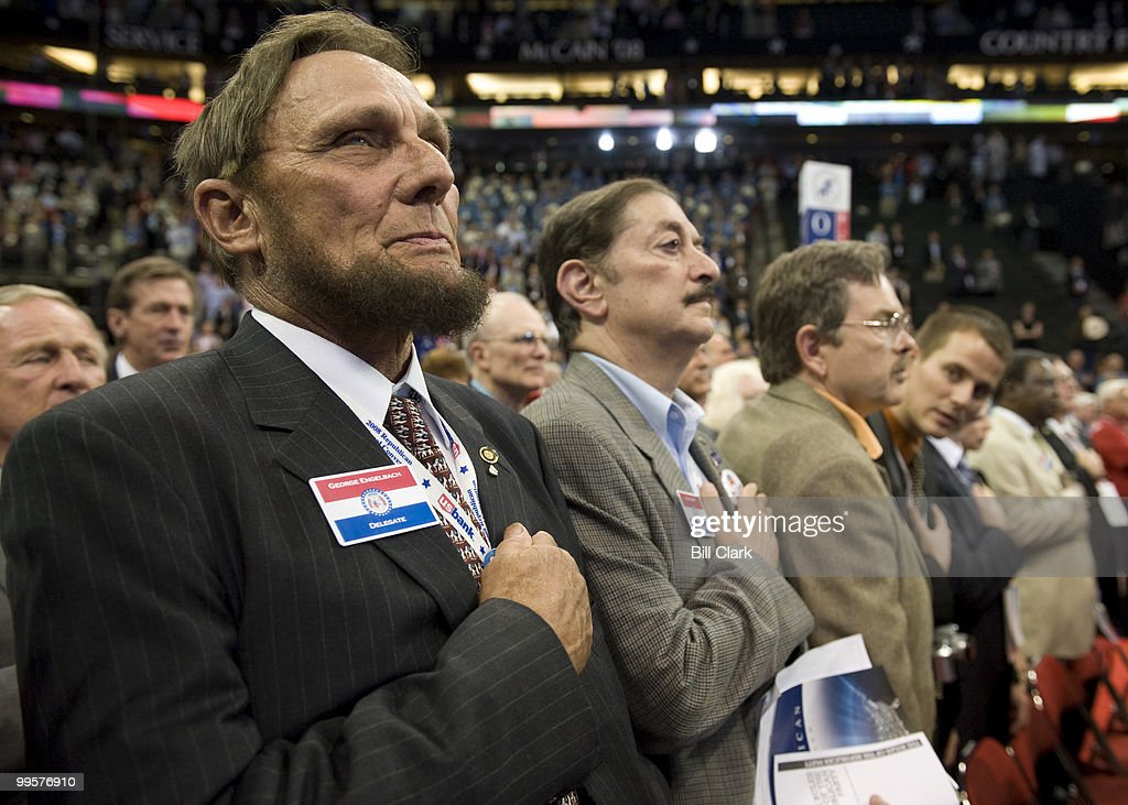 Missouri delegate George Engelbach holds his hand over his heart during the national anthem on the floor of the Republican National Convention at the Excel Center in St. Paul, Minn., on Monday, Sept. 1, 2008.