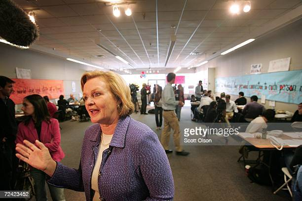 Missouri Democratic candidate for the US Senate Claire McCaskill meets with supporters staffing one of her phone banks November 6 2006 in St Louis...