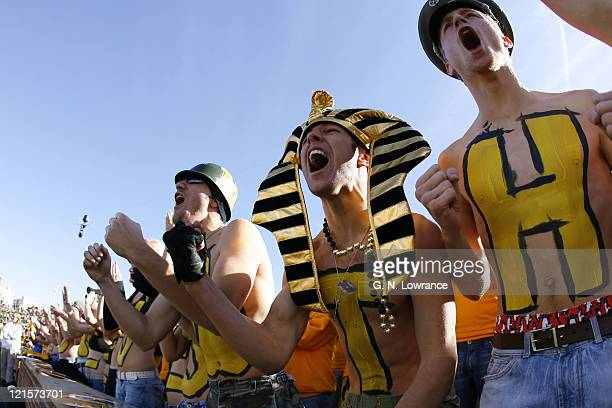 Missouri fans cheer together during action between the Oklahoma Sooners and the Missouri Tigers at Faurot Field in Columbia Missouri on October 28...