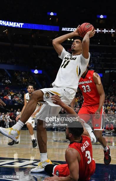 Missouri forward Jontay Porter puts up an off balance shot during a Southeastern Conference Basketball Tournament game between Missouri and Georgia...