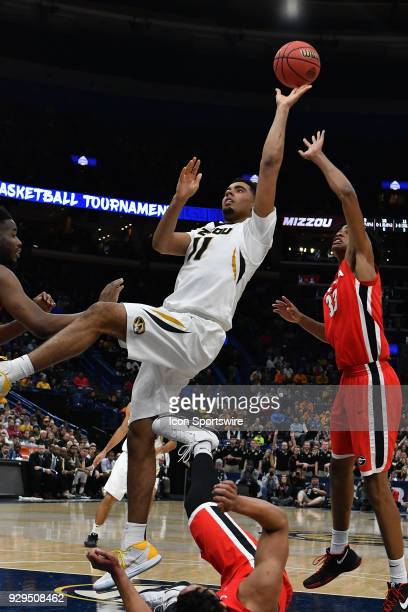 Missouri forward Jontay Porter puts up and off balance shot during a Southeastern Conference Basketball Tournament game between Missouri and Georgia...