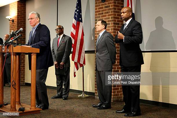 Missouri Gov Jay Nixon St Louis County Executive Charlie Dooley St Louis Mayor Francis Slay and Public Safety Director Dan Isom call for peace in...