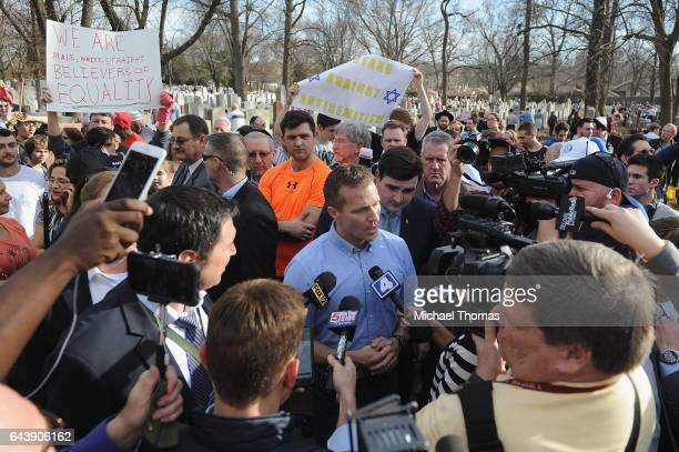 Missouri Governor Eric Greitens speaks to the media at Chesed Shel Emeth Cemetery on February 22, 2017 in University City, Missouri. Governor Eric...