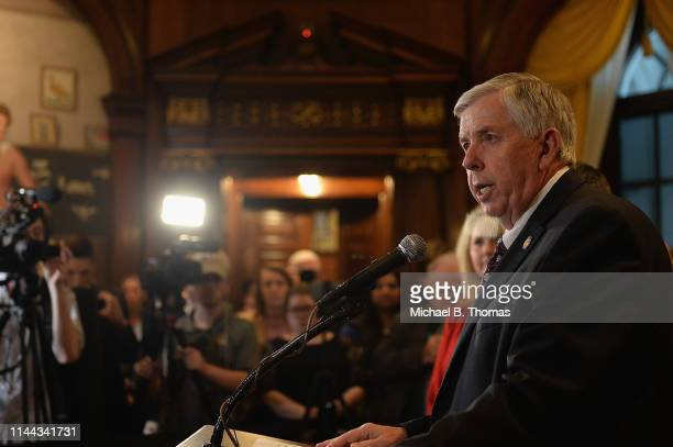 Missouri Governor Mike Parson addresses the media on the last day of legislative session at the Missouri State Capitol Building on May 17, 2019 in...