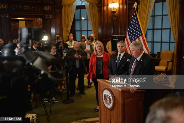 Missouri Governor Mike Parson addresses the media on the last day of legislative session at the Missouri State Capitol Building on May 17 2019 in...