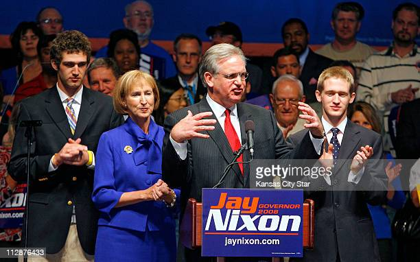 Missouri governorelect Jay Nixon speaks to supporters as he celebrates victory on Tuesday November 4 in St Louis Missouri