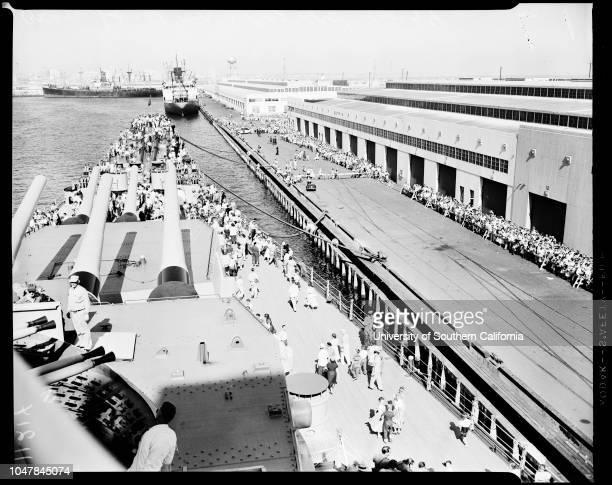 USS 'Missouri' in port 8 September 1954 Sergeant Rod WelchSergeant Mike ButlerGeneral views of crowds etcCaption slip reads 'Photographer Emery Date...