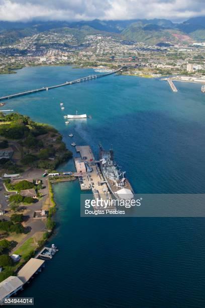 uss missouri, pearl harbor, honolulu, oahu, hawaii - uss_arizona stock pictures, royalty-free photos & images