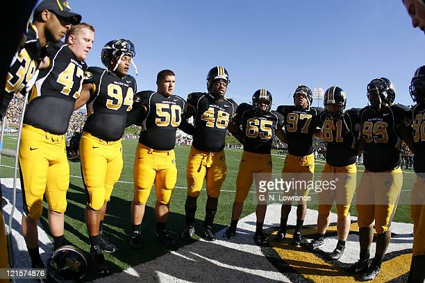 Missouri players huddle together prior to action between the Oklahoma Sooners and the Missouri Tigers at Faurot Field in Columbia, Missouri on...