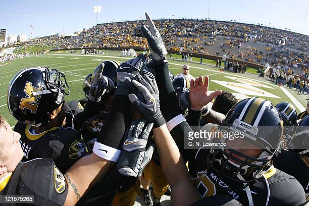 Missouri players huddle together prior to action between the Oklahoma Sooners and the Missouri Tigers at Faurot Field in Columbia Missouri on October...