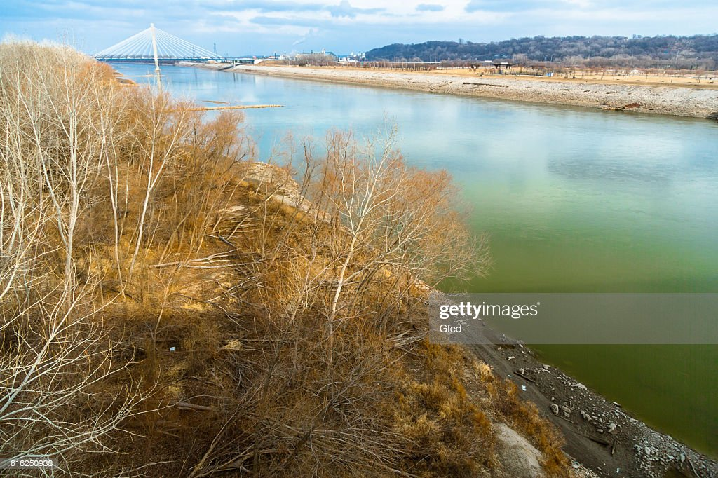 Missouri River close to Kansas City : Stock Photo